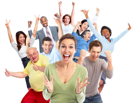 fiesta familiar: Aislado fondo blanco grupo de gente alegre feliz. Foto de archivo