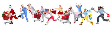 woman shopping cart: Happy running Christmas people isolated white background