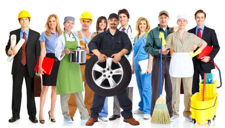 group of workers: Group of workers people isolated white background. Teamwork. Stock Photo