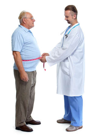 obese man: Doctor measuring obese man waist body fat. Obesity and weight loss.