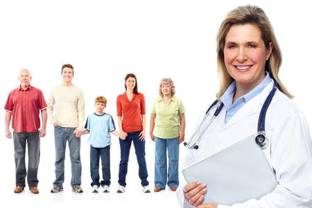 aislado en blanco: M�dico de la familia m�dica y los pacientes. Fondo blanco aislado.