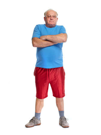 grandpapa: Elderly man in sport clothing isolated over white background.