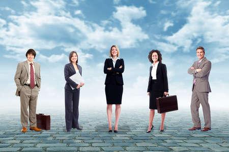 group of business people: Group of business people team over urban background