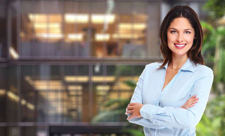 finance background: Beautiful young business woman. Accounting and finance background.