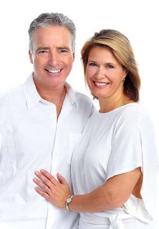 Happy loving elderly couple isolated white background. Stock Photo