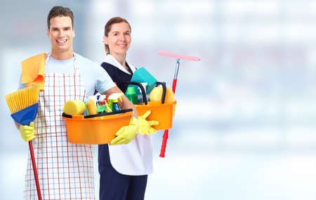 domestic: Domestic housekeeping service team. Home cleaning people. Stock Photo