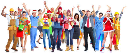 boxing day sale: Group of happy Christmas people with gifts isolated white background Stock Photo