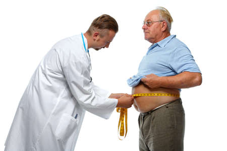 bloating: Doctor measuring obese man waist body fat. Obesity and weight loss.