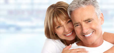 smile close up: Happy Loving couple close up. Healthy white smile. Stock Photo