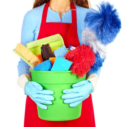 house maid: Maid hands with cleaning tools. House cleaning service concept. Stock Photo