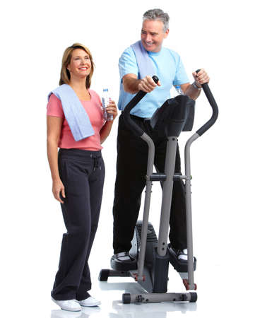 sport fitness: Healthy fitness elderly couple. Sport and exercise concept.