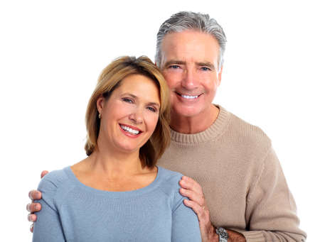 Happy smiling elderly couple isolated white background. Stock Photo