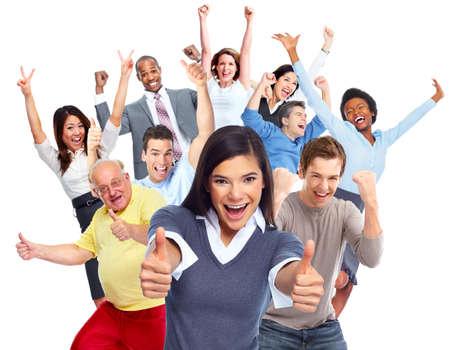 people jumping: Aislado fondo blanco grupo de gente alegre feliz. Foto de archivo