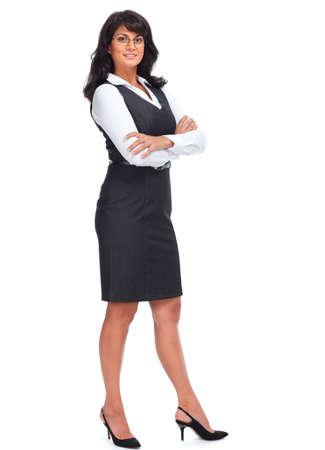 persona de pie: Hermosa joven mujer de negocios. Aislado sobre fondo blanco.
