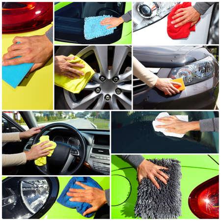 autolavaggio: Mano con il panno di lavaggio di una macchina. Ceretta e lucidatura collage. Archivio Fotografico
