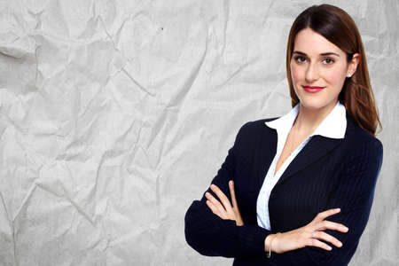 business women: Beautiful young business woman. Accounting and finance background.