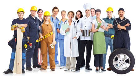 Group of workers people isolated white background. Teamwork. Stock Photo