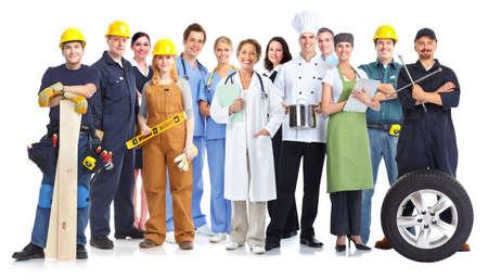 Groupe de travailleurs gens isolé fond blanc. Travail d'équipe. Banque d'images