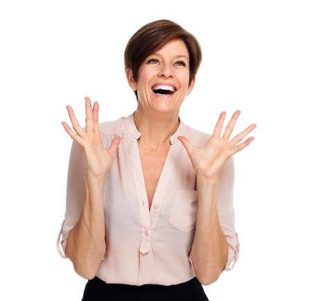 gestos: Retrato emocionada feliz mujer de negocios aislados sobre fondo blanco.