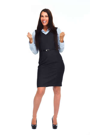 excited business woman: Happy excited business woman isolated white background.
