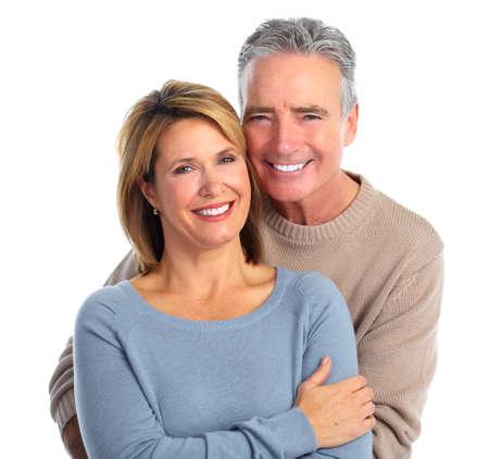 older couple: Happy smiling elderly couple isolated white background. Stock Photo