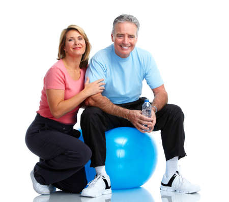 senior exercise: Healthy fitness elderly couple. Sport and exercise concept.