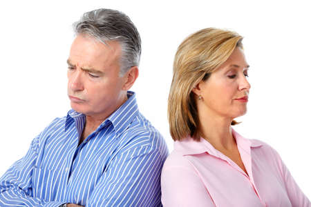 men and women: Stressed unhappy senior couple. Relationship and separation problem.