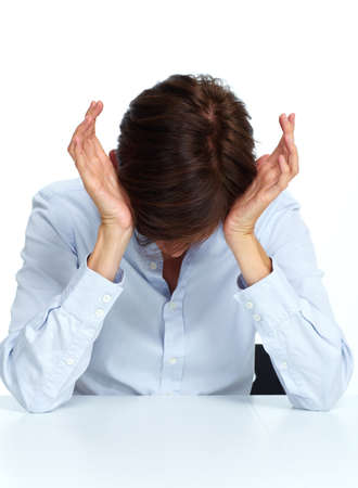 headache: Tired business woman with a headache migraine isolated white.