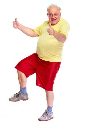 ancianos felices: Feliz alegre baile anciano y saltando aislado fondo blanco.