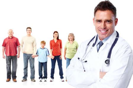 isolated  white: Medico di famiglia medico e pazienti. Sfondo bianco isolato. Archivio Fotografico