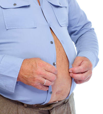 man close up: Senior man with big fat stomach. Obesity concept. Stock Photo
