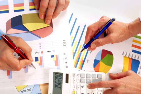 group  accountant: Hands of business people working with graphs. Teamwork. Stock Photo