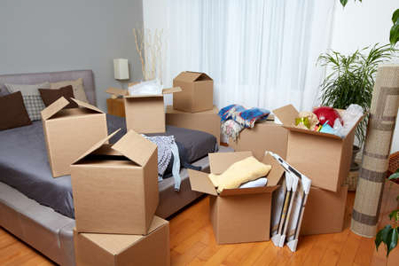 messy house: Moving boxes in new house. Real estate concept.