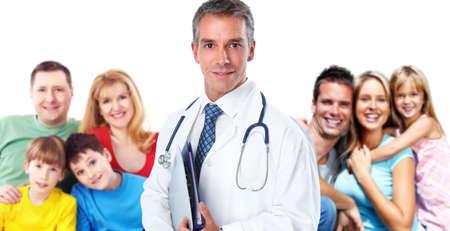 lekarz: Smiling zawodowej lekarza rodzinnego. Opieki zdrowotnej baner tła.