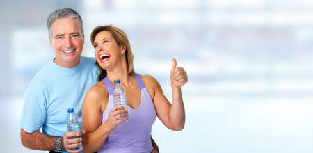 happy senior couple: Healthy fitness elderly couple. Sport and exercise concept.