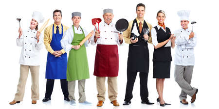 chef kitchen: Group of professional chefs isolated on white background.