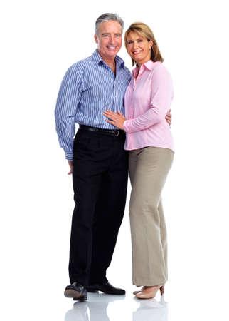 pareja abrazada: Feliz amorosa pareja de ancianos aislados fondo blanco. Foto de archivo