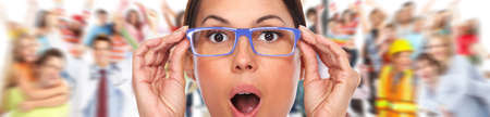 shortsightedness: Beautiful woman eyes with eyeglasses. Optician banner background. Stock Photo