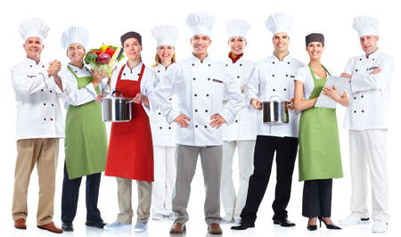 group: Group of professional chefs isolated on white background.