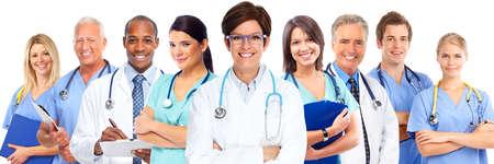 gente saludable: Grupo de m�dicos. Fondo del concepto de atenci�n de la salud.