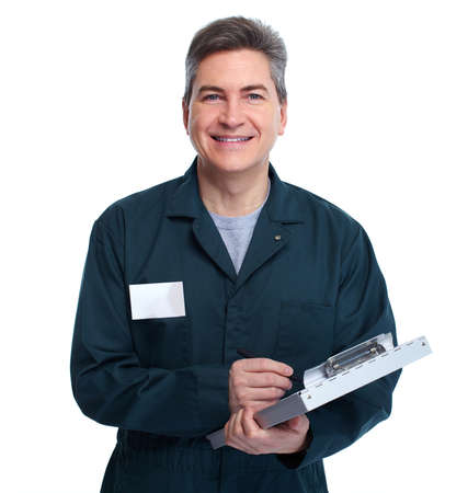 repairer: Smiling handsome plumber man. Isolated white background.