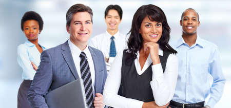 group  accountant: Group of young business people over modern office background.