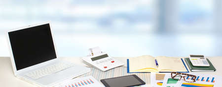Table with office objects. Accounting and financial concept. Stock Photo
