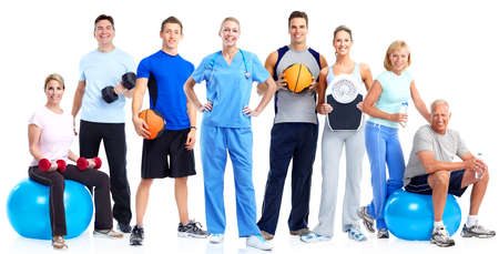 weigher: Group of healthy fitness people isolated over white background.