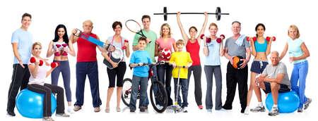 白い背景に分離された健康的なフィットネスの人々 のグループ。