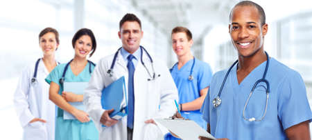 doctor care: Group of professional doctors. Health care medical background.