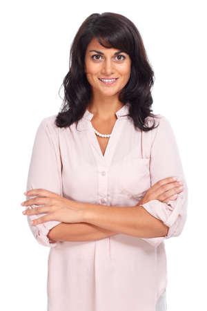 mujeres trabajando: Aislado Hermosa mujer de negocios joven fondo blanco.