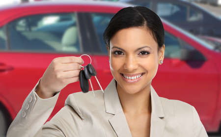 buyer: Car dealer woman. Auto dealership and rental concept background.