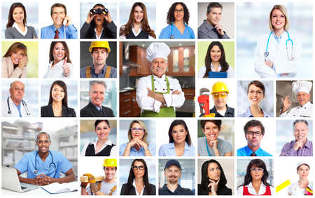 collage caras: Los hombres de negocios se enfrenta a los trabajadores collage de fondo. concepto de trabajo en equipo. Foto de archivo