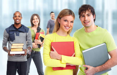 study group: Group of young smiling students. Education concept background.
